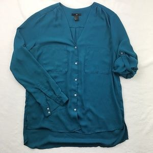 H&M teal turquoise roll tab vneck button front top